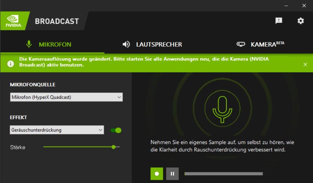 NVIDIA Broadcast OBS Konfiguration